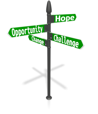 hope opportunity challenge change custom_four_street_sign_13089